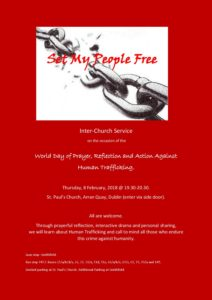8th February, St. Josephine Bakhita Day: International day of Prayer and Awareness against Trafficking in Persons. @ St. Paul's Church, | Dublin | County Dublin | Ireland